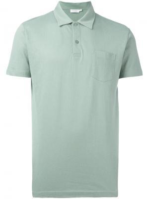 Рубашка-поло Riviera Sunspel. Цвет: зелёный