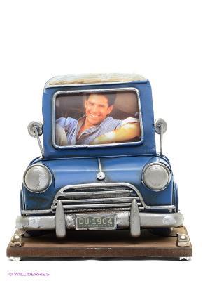 Фоторамка с подставкой для ручек Автомобиль синий  2фото 6х8см PLATINUM quality. Цвет: синий
