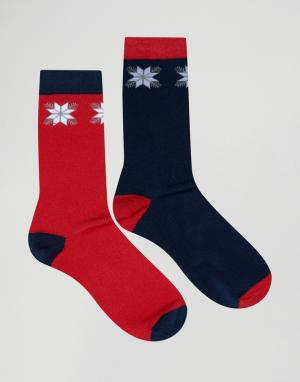 SSDD 2 пары носков с рождественским узором Фэйр-Айл. Цвет: красный