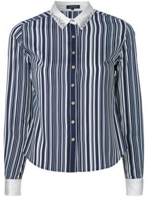 Полосатая рубашка с декорированным воротником Loveless. Цвет: синий