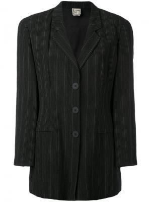 Пиджак в полоску со структурированными плечами Krizia Vintage. Цвет: серый