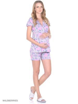Комплект домашней одежды для беременных и кормления ( блузка, шорты) 40 недель. Цвет: розовый, серый