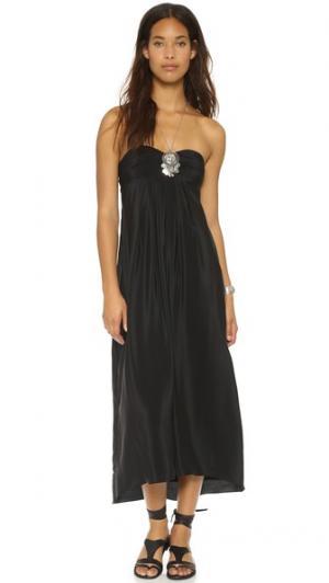 Шелковое макси-платье с завязками за шеей Amanda Uprichard. Цвет: голубой