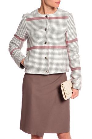 Куртка YARMINA. Цвет: серо-белый, клетка