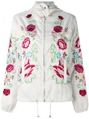 Куртка-бомбер с цветочной вышивкой P.A.R.O.S.H.. Цвет: телесный