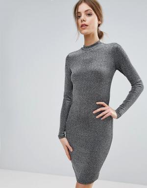 Y.A.S Облегающее платье с длинными рукавами. Цвет: серебряный