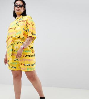 ASOS Комбинируемые шорты с принтом DESIGN x glaad& Curve. Цвет: желтый