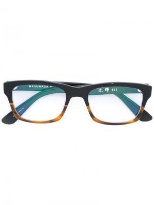 Очки в квадратной оправе Masunaga. Цвет: чёрный
