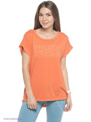 Футболка Freddy. Цвет: оранжевый