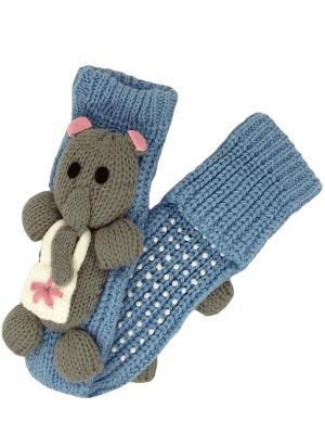 Носки вязаные с игрушкой HOBBY LINE. Цвет: голубой