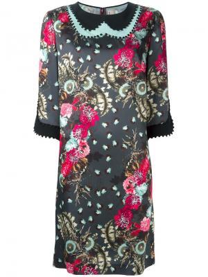 Декорированное платье с цветочным узором Antonio Marras. Цвет: чёрный