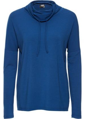 Спортивная футболка с длинным рукавом (синий) bonprix. Цвет: синий