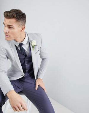 ASOS Серый супероблегающий блейзер Wedding. Цвет: серый