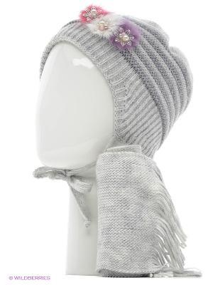 Шапка, шарф Tricotier. Цвет: светло-серый, серый