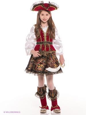 Карнавальный костюм Разбойница Батик. Цвет: бордовый, коричневый
