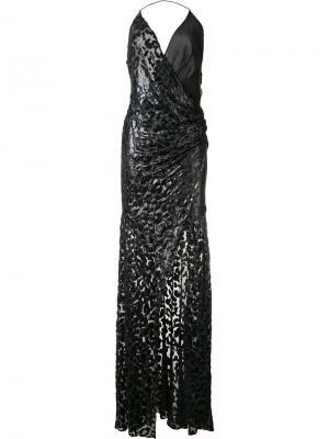 Вечернее платье с люрексом и леопардовым рисунком Alexandre Vauthier. Цвет: чёрный
