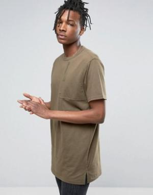 Maharishi T-Shirt In Khaki With Large Pocket. Цвет: зеленый