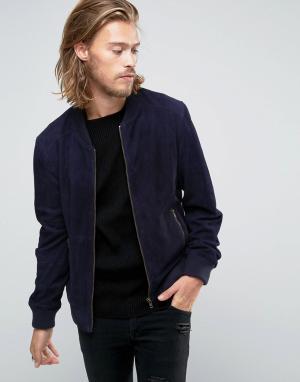 Black Phoenix Темно-синяя замшевая куртка-пилот. Цвет: темно-синий
