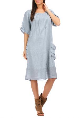 Платье 100% lin blanc. Цвет: blue
