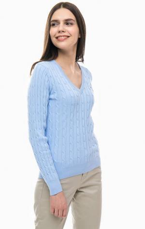 Хлопковый джемпер синего цвета Gant. Цвет: синий