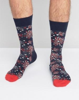 Happy Socks Носки с фейерверком. Цвет: синий