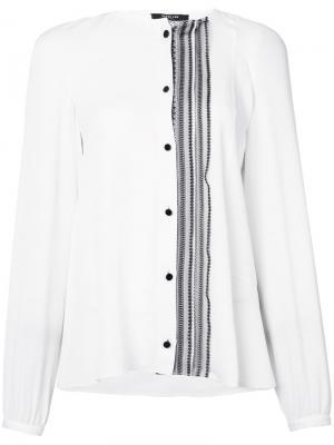 Рубашка без воротника со смещенной оборкой Derek Lam. Цвет: белый
