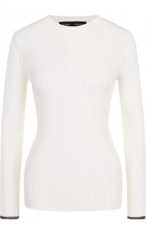 Приталенный пуловер фактурной вязки с круглым вырезом Proenza Schouler. Цвет: белый