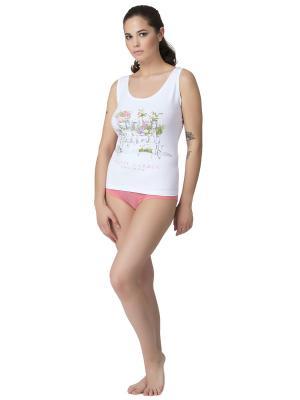Комплект женский: майка-шорты PRIMAVERINA. Цвет: зеленый, белый, коралловый