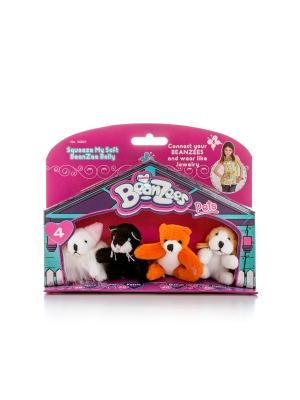 Beanzeez мини плюш в наборе  Мышка, Котик, Медведь, Песик. Цвет: розовый