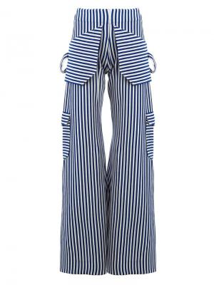 Широкие брюки в полоску Richard Malone. Цвет: синий