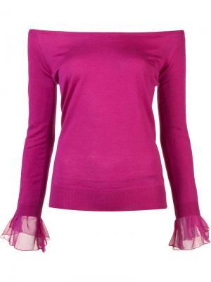 Джемпер с открытыми плечами Oscar de la Renta. Цвет: розовый и фиолетовый