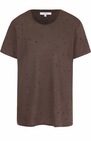 Льняная футболка прямого кроя с перфорацией Iro. Цвет: коричневый