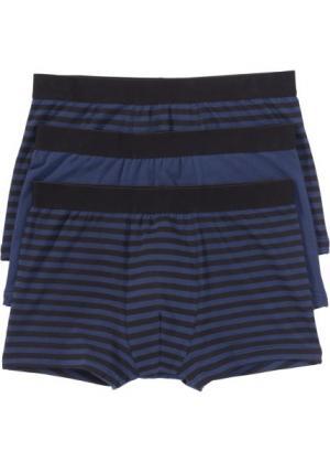 Трусы-боксеры (3 шт.) (черный/синий в полоску) bonprix. Цвет: черный/синий в полоску