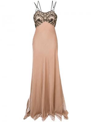 Расклешенное длинное платье  с вышивкой Plein Sud. Цвет: телесный