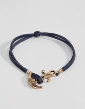 Icon Brand Темно-синий кожаный браслет с якорем. Цвет: темно-синий