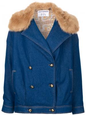 Джинсовая куртка с отделкой искусственным мехом N Duo. Цвет: синий