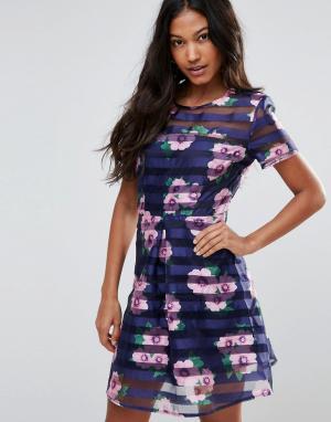 AX Paris Короткое приталенное платье с прозрачной сеточкой. Цвет: темно-синий