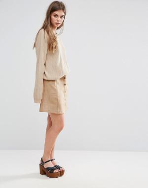 Oeuvre Мини-юбка из искусственной замши Oeurve. Цвет: коричневый