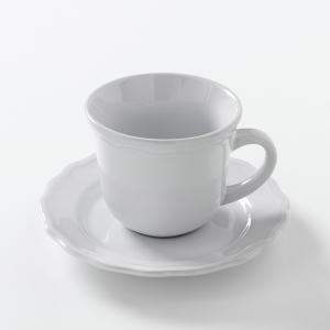 Кружка + блюдце из фаянса (комплект 4 шт), Ajila La Redoute Interieurs. Цвет: темно-серый