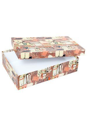 Коробка картонная, набор из 5 шт. 32х20х8 - 40х28х10 см. Библиотека. VELD-CO. Цвет: коричневый, светло-коралловый