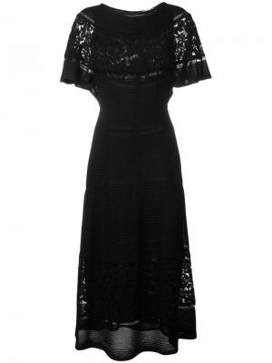 Длинное платье с кружевными панелями Valentino. Цвет: чёрный