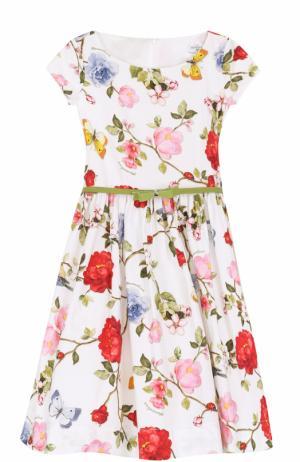 Платье с принтом и лаковым поясом Monnalisa. Цвет: белый