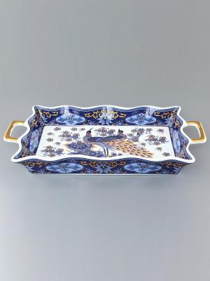 Хлебница Павлин синий Elan Gallery. Цвет: синий, белый