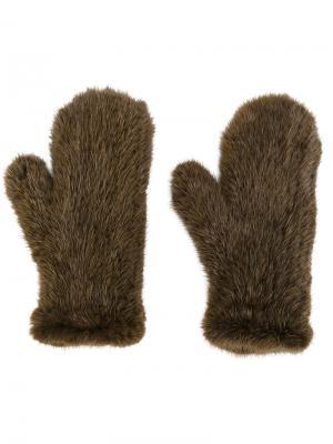 Перчатки Four Queues Yves Salomon. Цвет: коричневый