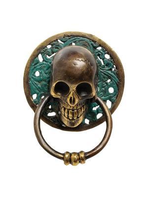 Фигура с кольцом Череп бронза (о.Бали) средняя Decor & gift. Цвет: золотистый, зеленый