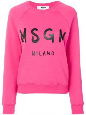Толстовка с принтом логотипом MSGM. Цвет: розовый и фиолетовый