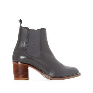 Ботинки-челси кожаные на среднем каблуке La Redoute Collections. Цвет: серый,черный