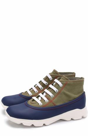 Текстильные ботинки с отделкой из резины Marni. Цвет: хаки