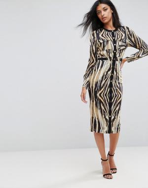 Forever Unique Платье миди на пуговицах с анималистическим принтом. Цвет: мульти