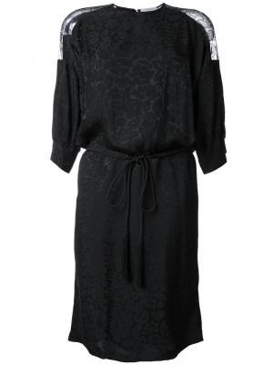 Платье с кружевной вставкой Preen By Thornton Bregazzi. Цвет: чёрный